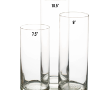 Clear Glass Vase – Cylinder 10.5 inch tall