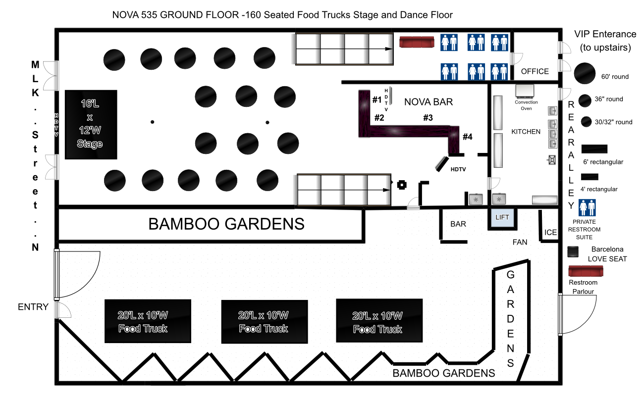 To Seated Dinner Food Trucks With Stage Or Band And Dance - Food truck floor plan