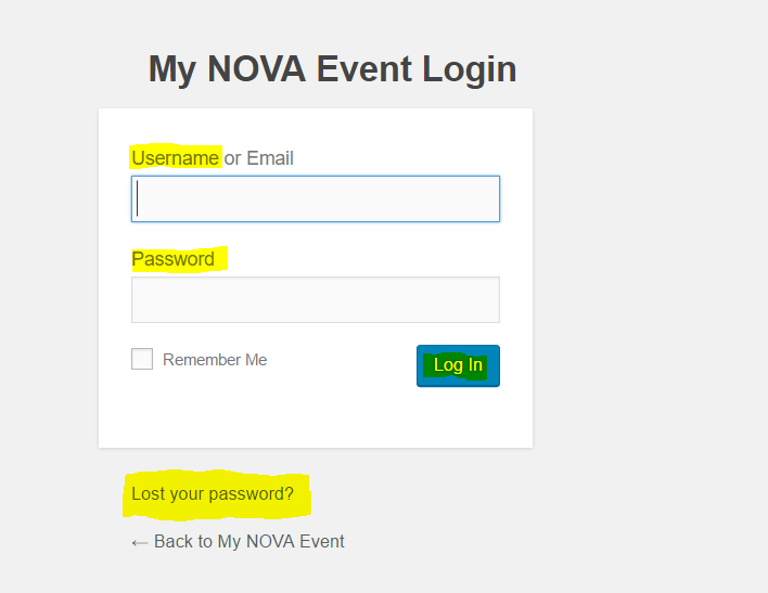 MyNOVAEvent.com vendor and client log-in screen