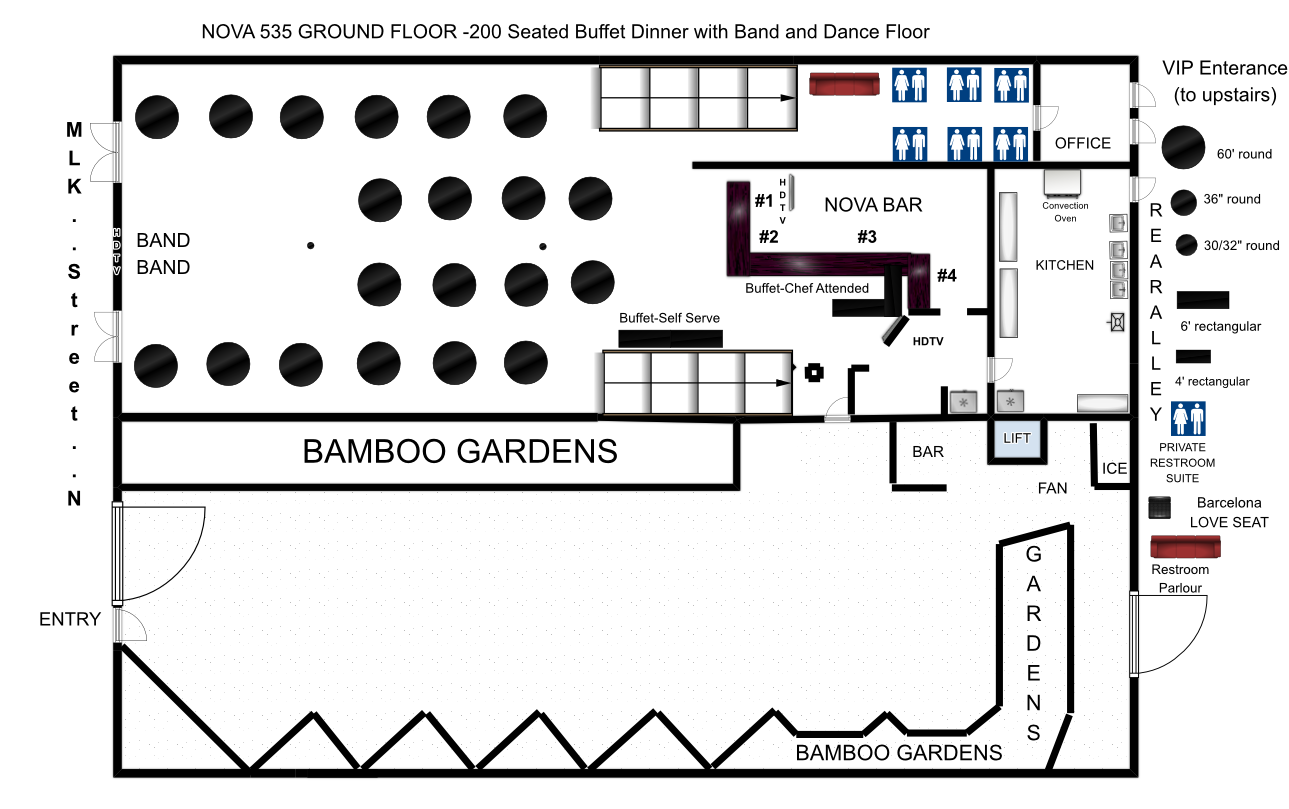 151 to 250 seated buffet dinner with band or stage and for Floorplan or floor plan