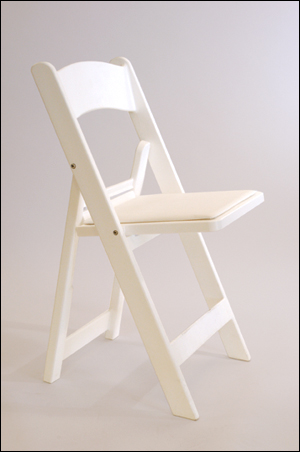Folding Chair - White - Padded Seat